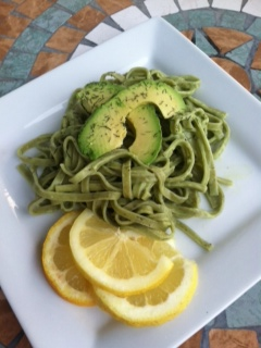 Spinach and Chive Pasta with Avocado LemonSauce